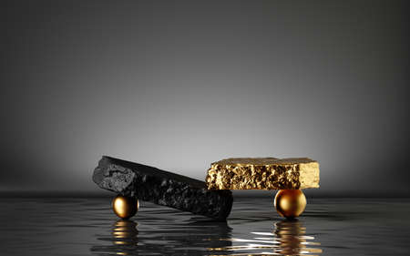 3d render, abstract modern minimal background with black and gold cobblestones, golden balls and reflection in the water. Showcase for black friday sale with empty platform for product displaying Foto de archivo