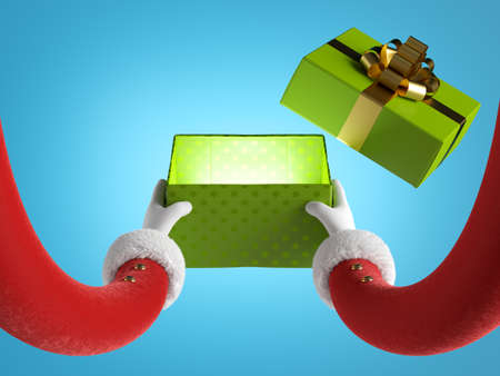 3d render, funny santa claus cartoon character hands in red sleeves with white fur hold green open gift box with golden ribbon. Christmas clip art isolated on blue background Stock fotó