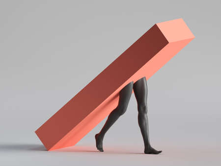 3d render, abstract minimal surreal concept. Red box with black human mannequin legs walk, isolated on white background. Modern fashion composition, funny freak performance. Contemporary art Stock fotó