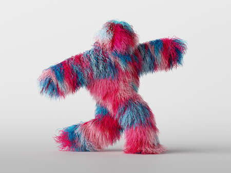3d render, furry beast cartoon character walking or dancing, isolated on white background, active posing. Fluffy toy. Colorful pink blue hairy monster