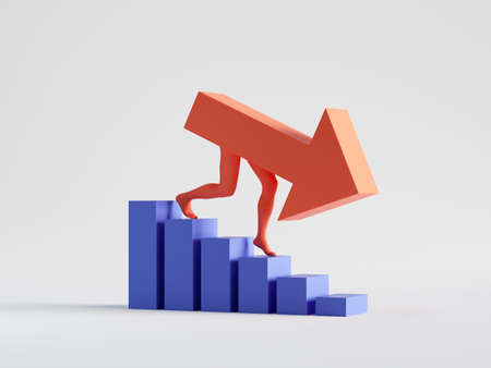 3d render, red arrow goes down clip art isolated on white background. Financial crisis decreasing chart concept. Business bar graph statistics. Regressing trend. Career metaphor. Info graphic icon