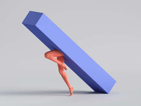 3d render, abstract minimal surreal concept. Blue box with red human mannequin legs jump, isolated on white background. Modern fashion composition, funny freak performance. Contemporary art
