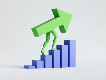 3d render, green arrow goes up. Increasing financial chart concept. Business bar graph statistics clip art isolated on white background. Career metaphor. Info graphic icon Stock Photo