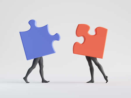 3d render. Couple of abstract puzzle pieces with mannequin legs. Meeting or date metaphor. Social role play. Partners interaction. Minimal clip art isolated on white background