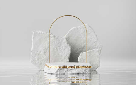 3d render, abstract modern minimal background with cobblestones and reflection in the water on the wet floor. Trendy showcase with golden arch frame and empty platform for product displaying