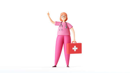 3d render, cartoon character woman doctor wears pink uniform, holds red case first aid kit. Medical clip art isolated on white background. Stok Fotoğraf