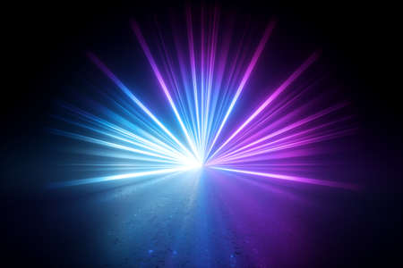 3d render, blue pink violet stage lighting, lens flare effect, shining star rays, abstract image of disco lights, glowing neon light, over black background