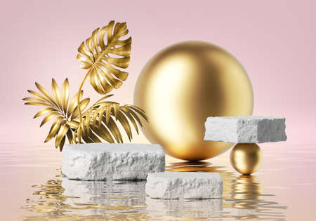 3d render, pink background with white cobblestone podiums and golden tropical leaves, gold balls and reflection in the water. Empty stage. Blank showcase scene for product presentation