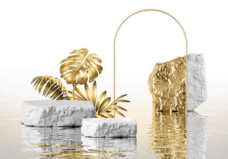 3d render, modern white background with golden tropical leaves, rock podium, cobblestones, gold round arch and reflection in the water. Empty platform. Blank showcase scene for product presentation