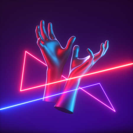 3d render, abstract red blue neon light with mannequin hands, geometric tangled line Foto de archivo
