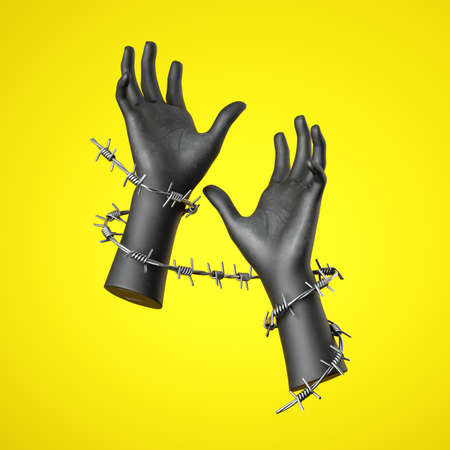 3d render, black human hands with barbwire, isolated on yellow background. Social justice concept against discrimination and violence. Human rights violation Stock Photo