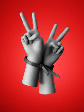 3d render, human hands tied with plastic zip ties, isolated on red background. Victory gesture. Rebellion and protest concept. Fight for human rights. Optimistic rebel