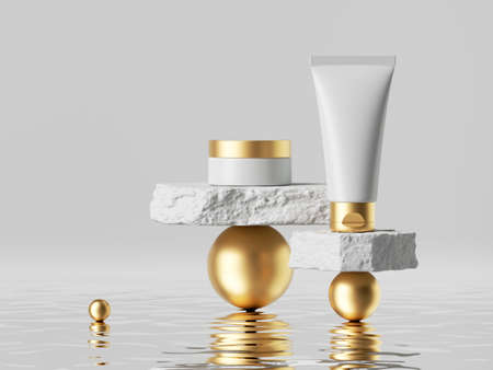 3d render, abstract skin care cosmetics presentation. White cream tube and jar with golden caps placed on rough cobblestone platforms on golden balls. Minimal blank package mockup, commercial showcase