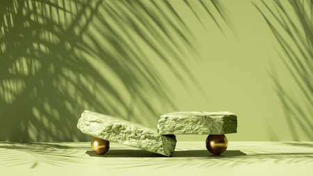 3d render, abstract green background with tropical leaves shadow and bright sunlight. Minimal scene with cobble stone platform for organic cosmetic product presentation