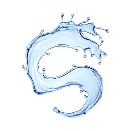 3d render, blue water jet, wavy splash clip art isolated on white background. Twisted liquid shape, splashing wave