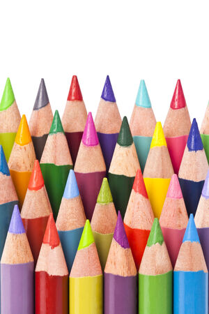 Color pencils isolated on white background  Close up Stock Photo