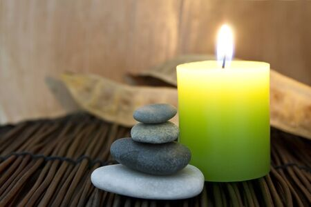 Zen stones and aromatic candle