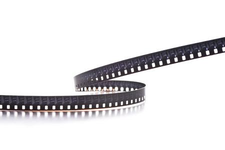 8 mm film strip on white background