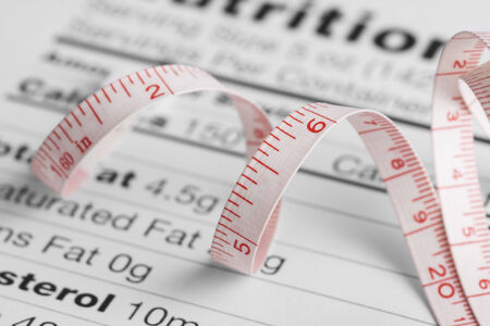 fact: Close up of a measure tape on a nutrition fact sheet