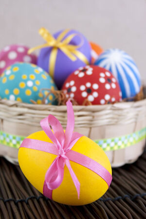 Colorful hand painted Easter eggs in basket