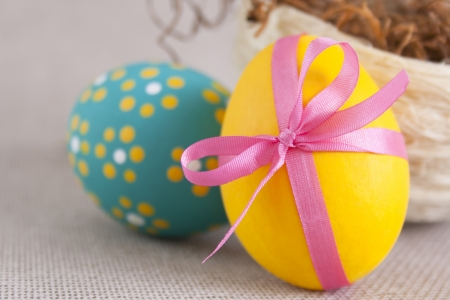 Easter eggs and nest  Horizontal