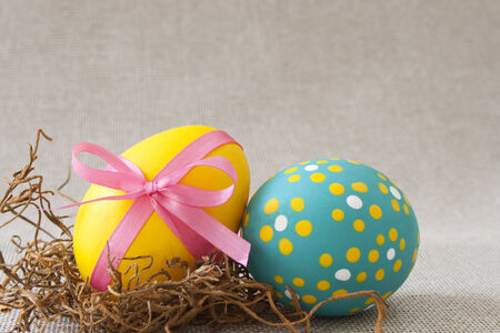 Two colorful Easter eggs Stock Photo