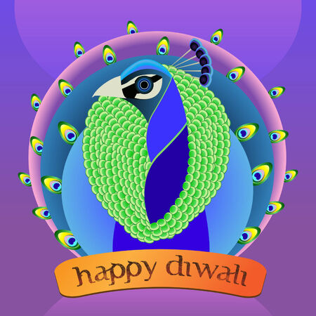 Vector illustration of colorful peacock with  Happy Diwali  banner