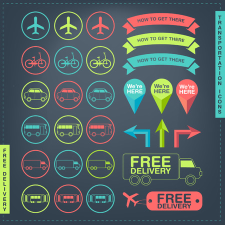 there: Vector Set of Transportation Icons, Free Delivery and direction label