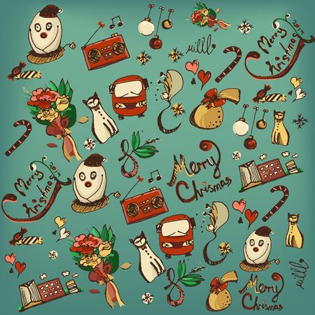 carne picada: Vector conjunto de mano retro dibujo elemento navidad