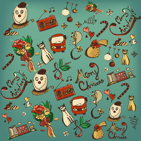 minced pie: Vector set of retro hand drawing christmas element Illustration