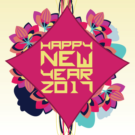 Colorful floral design with happy new year 2017 greeting on red background.