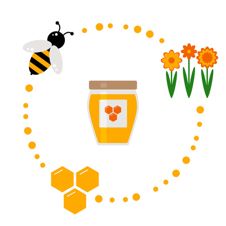 bee on white flower: Honey icons set. Isolated honey elements on background. Beekeeping icons. Honey production. Bee, flowers, honeycomb and jar of honey. Flat style vector illustration.