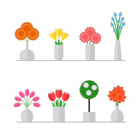Vaas van bloemen. Geïsoleerde vaas met bloemen die op witte achtergrond. Kleurrijke bloemen boeketten in grijze vazen. Vlakke stijl vector illustratie.