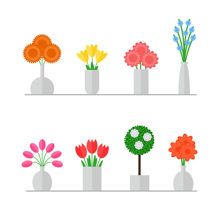 Vase of flowers. Isolated vase of flowers set on white background. Colorful flowers bouquets in grey vases. Flat style vector illustration. Vettoriali