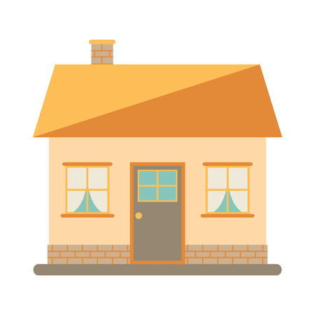 flat roof: Little cute modern house for happy family. With chimney, roof, windows, door and brickwork. Small urban house. Exterior design. House icon on white background. Flat style vector illustration.
