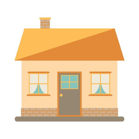 casale: Poca casa moderna carino per la famiglia felice. Con camino, tetto, finestre, porte e muratura. Piccola casa urbana. Design esterno. Icona della Camera su sfondo bianco. Appartamento stile illustrazione vettoriale.