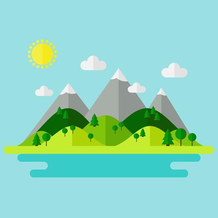 Landschap. Geïsoleerde karakter landschap met bergen, heuvels. rivier en bomen op de achtergrond. Zomer landschap. Vlakke stijl vector illustratie. Stock Illustratie