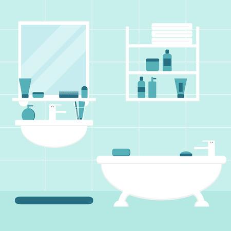 bathroom: Baño. Cuarto de baño. Muebles de baño aislada en el fondo. Bañera, lavabo, espejo, estante. Muebles de baño con elementos de baño. Ilustración vectorial de estilo Flat.