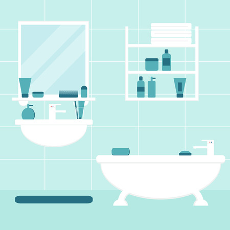 modern furniture: Bathroom. Bathroom interior. Isolated bathroom furniture on background. Bathtub, sink, mirror, shelf. Bathroom furniture with bathroom elements. Flat style vector illustration.