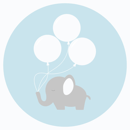 Little baby elephant with big balloons. Baby shower card. Isolated baby elephant on background. Flat style vector illustration.