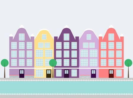 amsterdam canal: Amsterdam houses. Colorful amsterdam houses on the water canal with trees. City landmark. Flat style vector illustration.