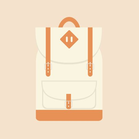 backpack school: Backpack. Backpack icon. Isolated backpack icon on background. Travel backpack. School backpack. Beige backpack. Sport bag. Flat style vector illustration.