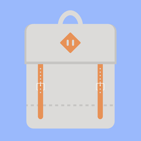 backpack school: Backpack. Backpack icon. Isolated backpack icon on background. Travel backpack. School backpack. Grey backpack. Sport bag. Flat style vector illustration.