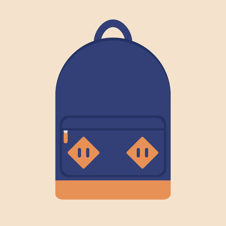 backpack school: Backpack. Backpack icon. Isolated backpack icon on background. Travel backpack. School backpack. Blue backpack. Sport bag. Flat style vector illustration.