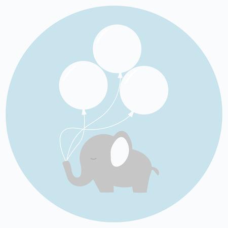 Kleine Baby-Elefanten mit großen Luftballons. Baby-Dusche-Karte. Isoliert Baby-Elefanten auf Hintergrund. Wohnung Stil Vektor-Illustration. Vektorgrafik