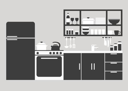 kitchen furniture: Kitchen. Kitchen interior design. Modern kitchen furniture. Isolated kitchen furniture. Furniture and kitchenware. Kitchen interior silhouette. Flat vector illustration.