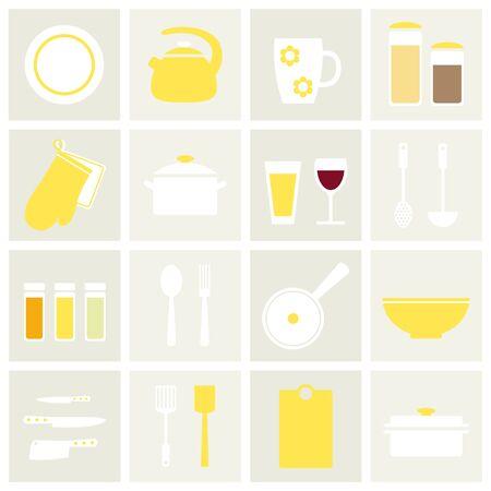 kitchen tools: Kitchenware. Isolated kitchenware icons on background. Modern and classic kitchen stuff. White and yellow kitchenware. Kitchen tools. Flat style vector illustration. Illustration
