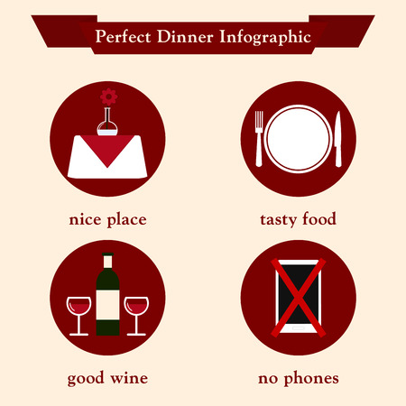 romantic dinner: Dinner. Dinner infographic template in retro style. Perfect romantic dinner for two infographic. Flat vector illustration.