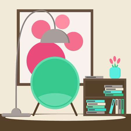 living space: Living room. Living room reading space with modern chair, book stand, picture and flowers. Contemporary furniture. Flat style vector illustration.