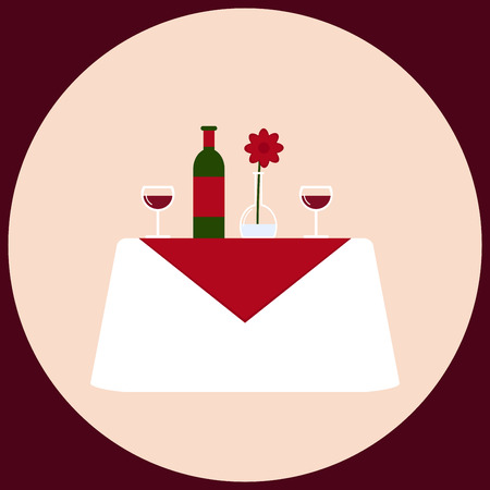 dinner date: Dinner table. Romantic dinner for two. Isolated dinner table on background. White table with wine, stemware, vase and flower. Dining room furniture. Flat style vector illustration in retro colors.